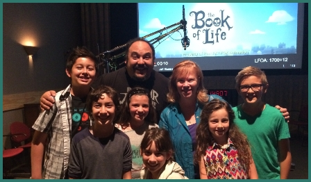 The Book Of Life Director Jorge Gutierrez with Lynnanne Zager during ADR